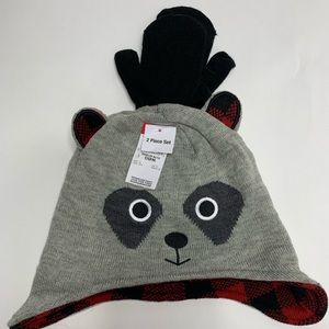 Raccoon snow hat with gloves NEW